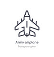 army airplane outline icon isolated line from vector image vector image