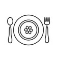 Baby plate with spoon and fork linear icon