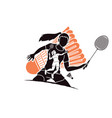 badminton players cartoon sport graphic vector image vector image