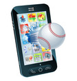 baseball ball flying out of mobile phone vector image