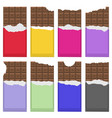 bitten milk brown chocolate bar pattern sweet vector image vector image
