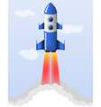 blue cartoon steel rocket flying vector image