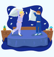 boy pillow fight in blue colors graphics vector image