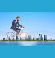 businessman riding bicycle office worker cycling vector image
