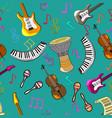 cartoon cute doodles hand drawn musical seamless vector image vector image
