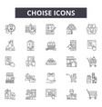 choise line icons signs set outline vector image vector image