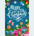 christmas tree with xmas gifts on wood background vector image vector image