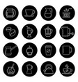coffee thin line icons set in black and vector image vector image