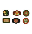 collection of served vegetarian dishes cooking vector image