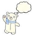 cute cartoon polar teddy bear with thought bubble vector image vector image