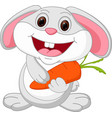 cute rabbit cartoon holds carrot vector image vector image
