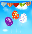 easter eggs balloons flying over blue sky vector image vector image