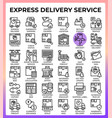 express delivery service icons vector image