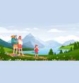 family in nature adventure cartoon happy hikers vector image
