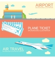 flat building airport with flying plane tour and vector image vector image