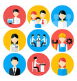 Flat stylized business people icons set vector image vector image