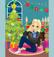 girl near fireplace and christmas tree vector image vector image