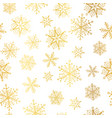 golden and white snowflakes seamless repeat vector image