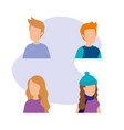 group of young people characters vector image vector image