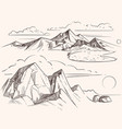 Hand sketched mountain landscapes with lake