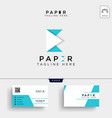initial paper e logo template and business card vector image