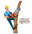 lumberjack classic worker with hand vector image