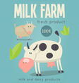 milk farm poster vector image