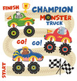 monster trucks with animals on race track vector image vector image