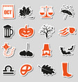 october month theme set of simple stickers eps10 vector image vector image