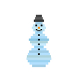 pixel art snowman christmas greeting card vector image