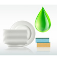 plates and a drop of detergent isolated on white vector image vector image