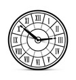 retro clock icon with roman numbers isolated on vector image