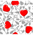 seamless pattern with arrows and hearts vector image vector image