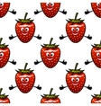 seamless pattern with cartoon strawberry vector image