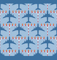 seamless pattern with passenger airplanes and vector image vector image