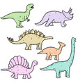 set hand drawn doodle dinosaur vector image vector image