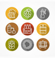 set of linear beer icons vector image