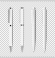 set of white realistic pen on transparent vector image vector image
