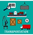 Shipping and delivery flat icons vector image vector image