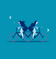 two business person riding same bike in vector image vector image