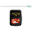 vegetables and feta cheese in a lunchbox vector image