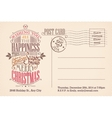 Vintage merry Christmas holiday postcard vector image vector image