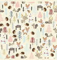winter seamless pattern animal forest vector image