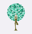 yoga tree pose concept for nature connection vector image vector image