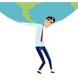 Businessman holding big globe overhead vector image