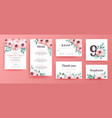 a set invitations for a wedding with pink flowers vector image vector image