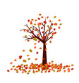 autumn tree fall leaves background vector image vector image