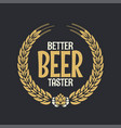 beer label reward logo on dark background vector image vector image
