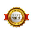 best seller badge premium golden emblem luxury vector image