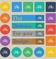 Bicycle icon sign Set of twenty colored flat round vector image vector image